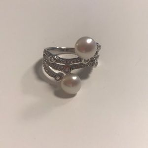 JTV Pearl and White Cubic Zirconia Ring